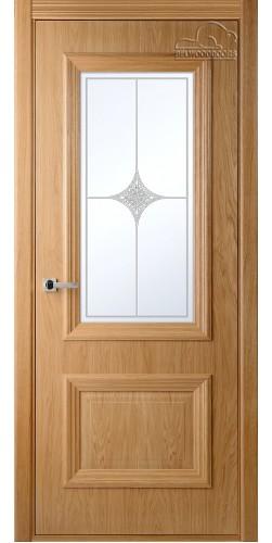 Дверь шпонированная со стеклом Франческа дуб