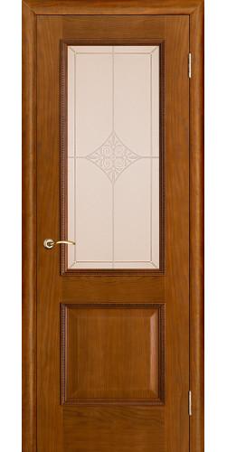 Дверь шпонированная со стеклом Шервуд цвет дуб