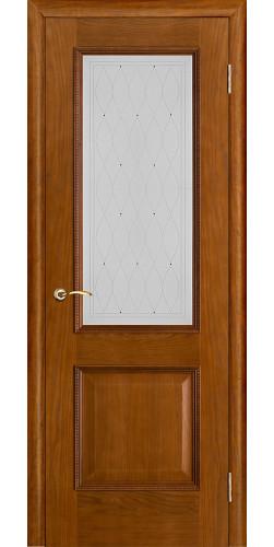 Межкомнатная дверь шпонированная со стеклом Шервуд Дуб (стекло росса)