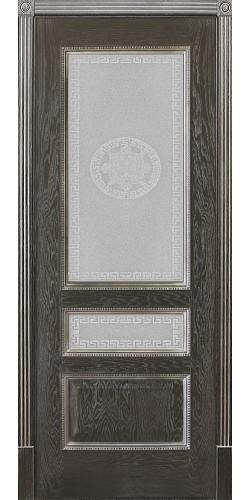 Межкомнатная дверь шпонированная со стеклом Вена Черный Версаче