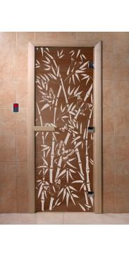 Дверь для бани и сауны Бамбук и бабочки бронза