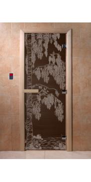 Дверь для бани и сауны Береза черный жемчуг