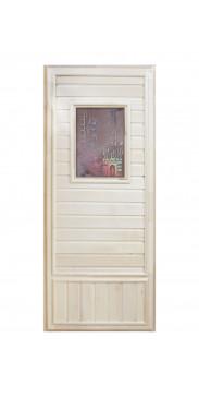 Дверь для бани и сауны Вагонка эконом со стеклом Девушка в баньке