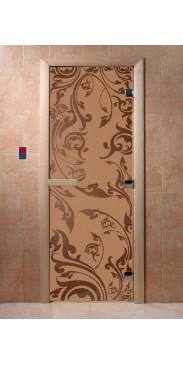 Дверь для бани и сауны Венеция бронза матовая