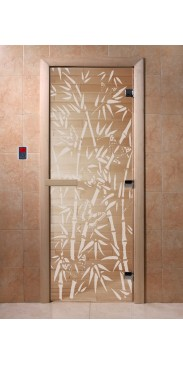 Дверь для бани и сауны Бамбук и бабочки прозрачная