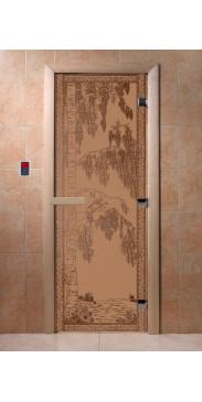 Дверь для бани и сауны Березка бронза матовая