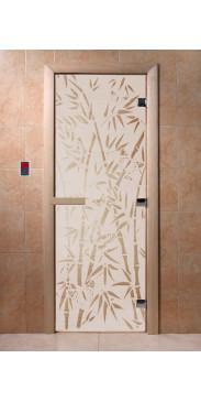 Дверь для бани и сауны Бамбук и бабочки сатин