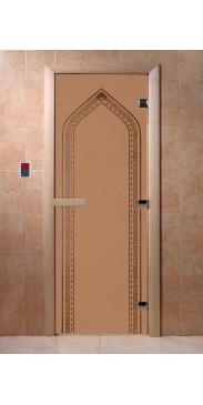 Дверь для бани и сауны Арка бронза матовая
