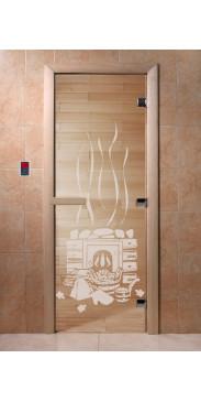 Дверь для бани и сауны Банька прозрачная