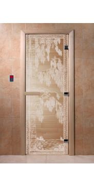 Дверь для бани и сауны Березка прозрачная