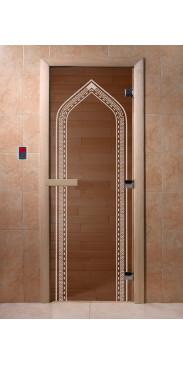 Дверь для бани и сауны Арка бронза