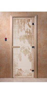 Дверь для бани и сауны Березка сатин