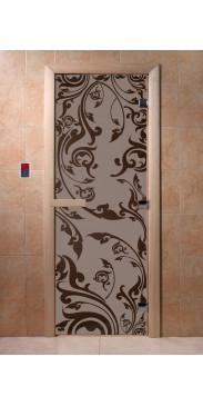 Дверь для бани и сауны Венеция черный жемчуг матовая