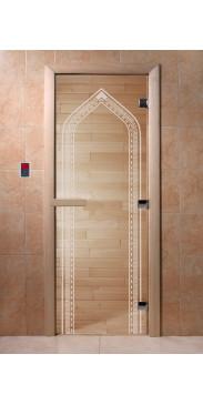 Дверь для бани и сауны Арка прозрачная