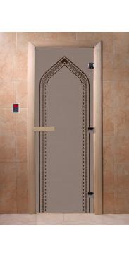 Дверь для бани и сауны Арка черный жемчуг матовая