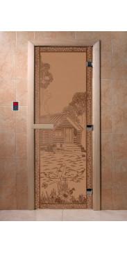 Дверь для бани и сауны Банька в лесу бронза матовая