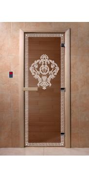 Дверь для бани и сауны Версаче бронза