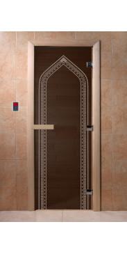 Дверь для бани и сауны Арка черный жемчуг
