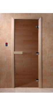 Дверь для бани и сауны Бронза