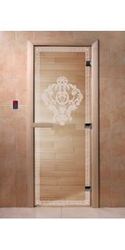 Дверь для бани и сауны Версаче прозрачная