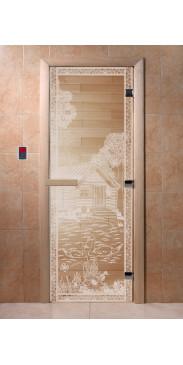 Дверь для бани и сауны Банька в лесу прозрачная