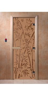 Дверь для бани и сауны Бамбук и бабочки бронза матовая