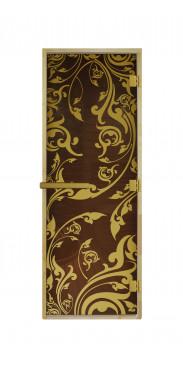 Дверь для бани и сауны Венеция Бронза Luxary Gold
