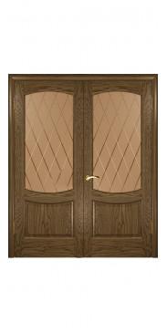 Двустворчатая дверь Лаура 2 ДО мореный дуб светлый