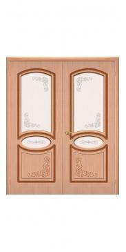 Двустворчатая дверь Азалия ДО дуб