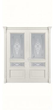 Двустворчатая дверь Гера-2 ДО Дуб RAL 9010