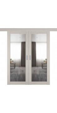 Двустворчатая дверь купе 32Х scansom oak с зеркалом с одной стороны
