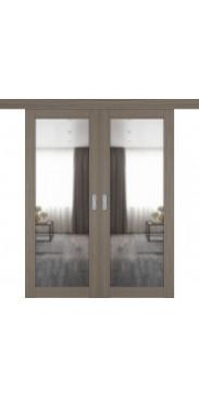 Двустворчатая дверь купе Emalex 32Х brun oak с зеркалом с одной стороны