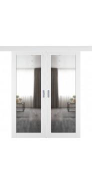 Двустворчатая дверь купе Emalex 32 ice с зеркалом с одной стороны