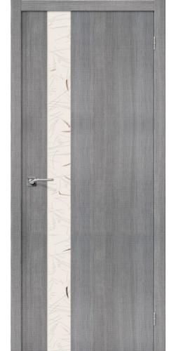 Дверь межкомнатная экошпон со стеклом Порта 51 цвет Grey Crosscut