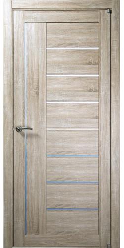 Межкомнатная дверь экошпон со стеклом Uberture 2110 серый велюр