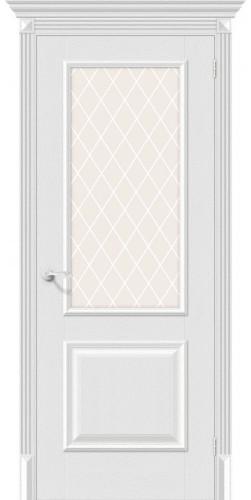 Дверь межкомнатная экошпон со стеклом Классико-13 цвет Virgin