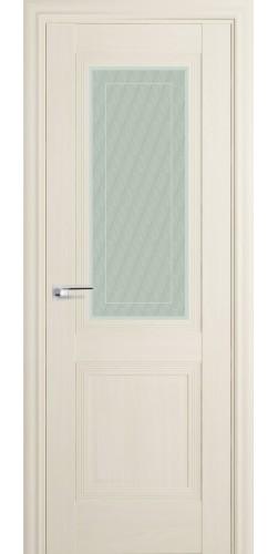 Межкомнатная дверь экошпон со стеклом 81Х белый ясень