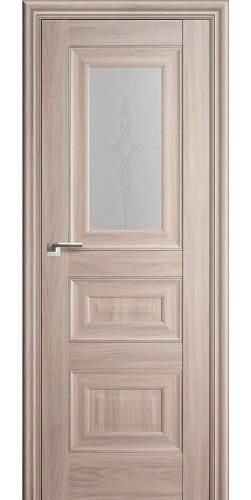 Межкомнатная дверь экошпон со стеклом 26Х орех пекан
