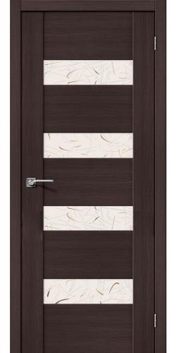 Дверь межкомнатная экошпон со стеклом VM4 цвет Wenge veralinga