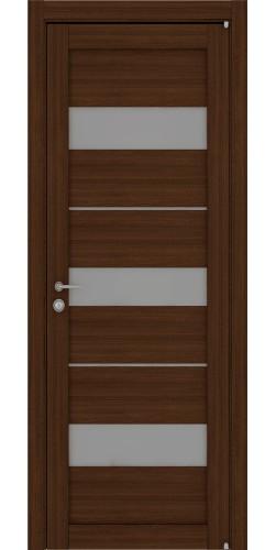 Межкомнатная дверь экошпон со стеклом Uberture 2126 орех вельвет