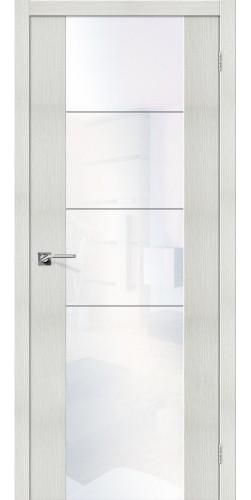 Дверь межкомнатная экошпон со стеклом V4 WW цвет Bianco Veralinga