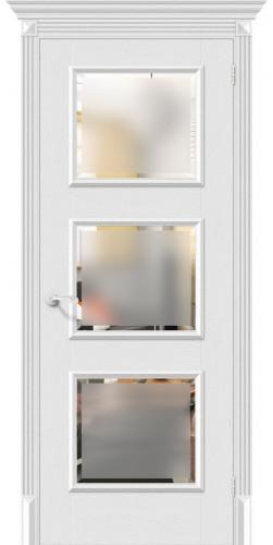 Дверь межкомнатная экошпон со стеклом Классико-17.3 цвет Virgin