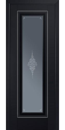 Межкомнатная дверь экошпон со стеклом 24U черный матовый