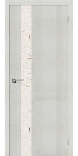 Дверь межкомнатная экошпон со стеклом Порта 51 цвет Bianco Crosscut