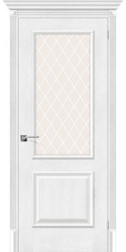 Дверь межкомнатная экошпон со стеклом Классико 13 цвет Silver