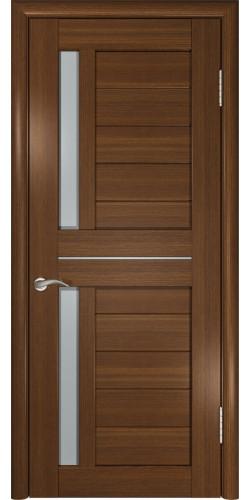 Межкомнатная дверь экошпон со стеклом ЛУ-27 Темный орех