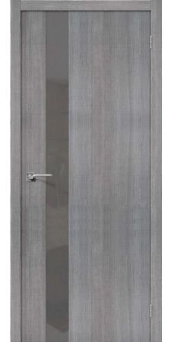 Дверь межкомнатная экошпон со стеклом графит Порта 51 цвет Grey Crosscut S