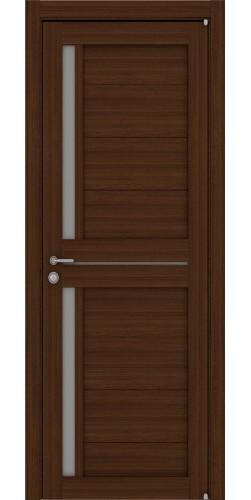 Межкомнатная дверь экошпон со стеклом Uberture 2121 орех вельвет