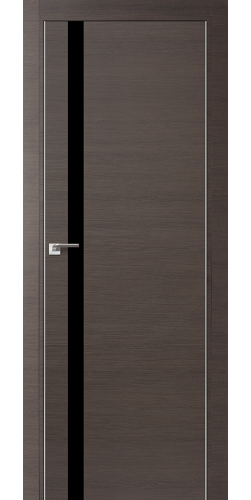 Межкомнатная дверь экошпон 6Z грей кроскут чёрный лак