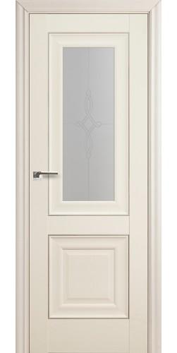 Межкомнатная дверь экошпон со стеклом 28Х белый ясень